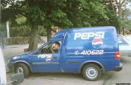 Pepsi Worker Drinking Coke
